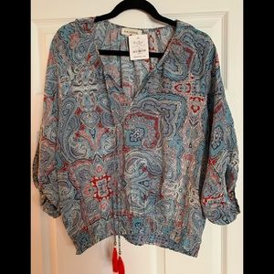 NWT Souvenir Silk Boho Blouse, Size Medium
